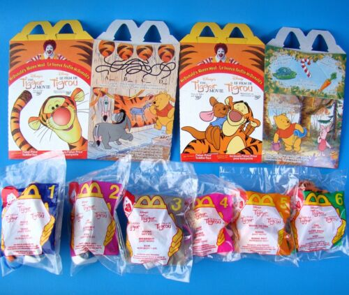 MCDONALD/'S DISNEY TIGGER MOVIE SET OF 6 SOFT TOY MIP 2 NEW HAPPY MEAL BOXES!