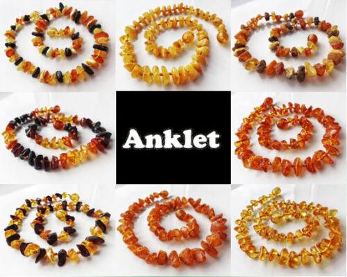 Bracelet Knotted 8 inch 100/% Genuine Baltic  Adult Amber Anklet