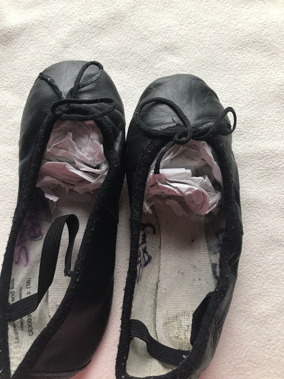 Leather Black Ballet Shoes full sole with attached elastics