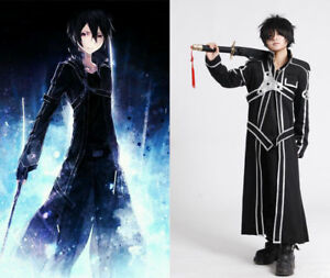 Anime Sword Art Online Kirito Kazuto Kirigaya Mens Trench Coat Cosplay Costume