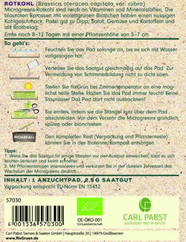 BIO Rotkohl 57030 flixGrün BIO Anzuchtset Sämereien Mikrogemüse Sprossen