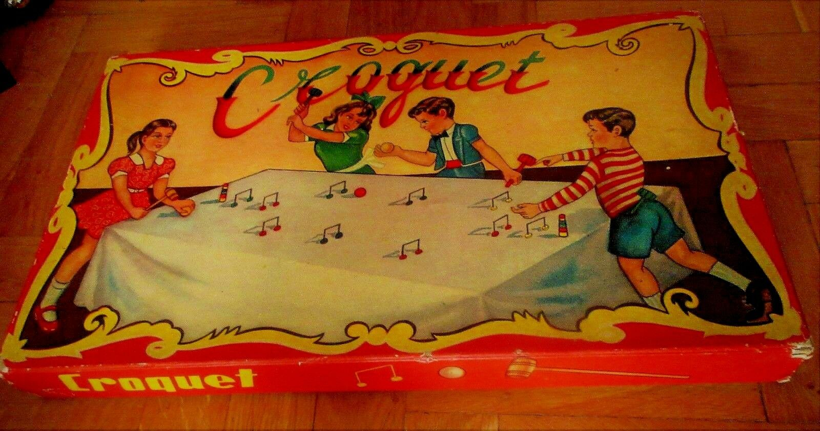 UNIQUE VINTAGE GREEK LITHO HARDBOARD TABLE CROQUET GAME BY EPA 60s