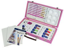 25pc Acrylic Painting Art Kit Royal Langnickel In Wood Storage Box Case PINK