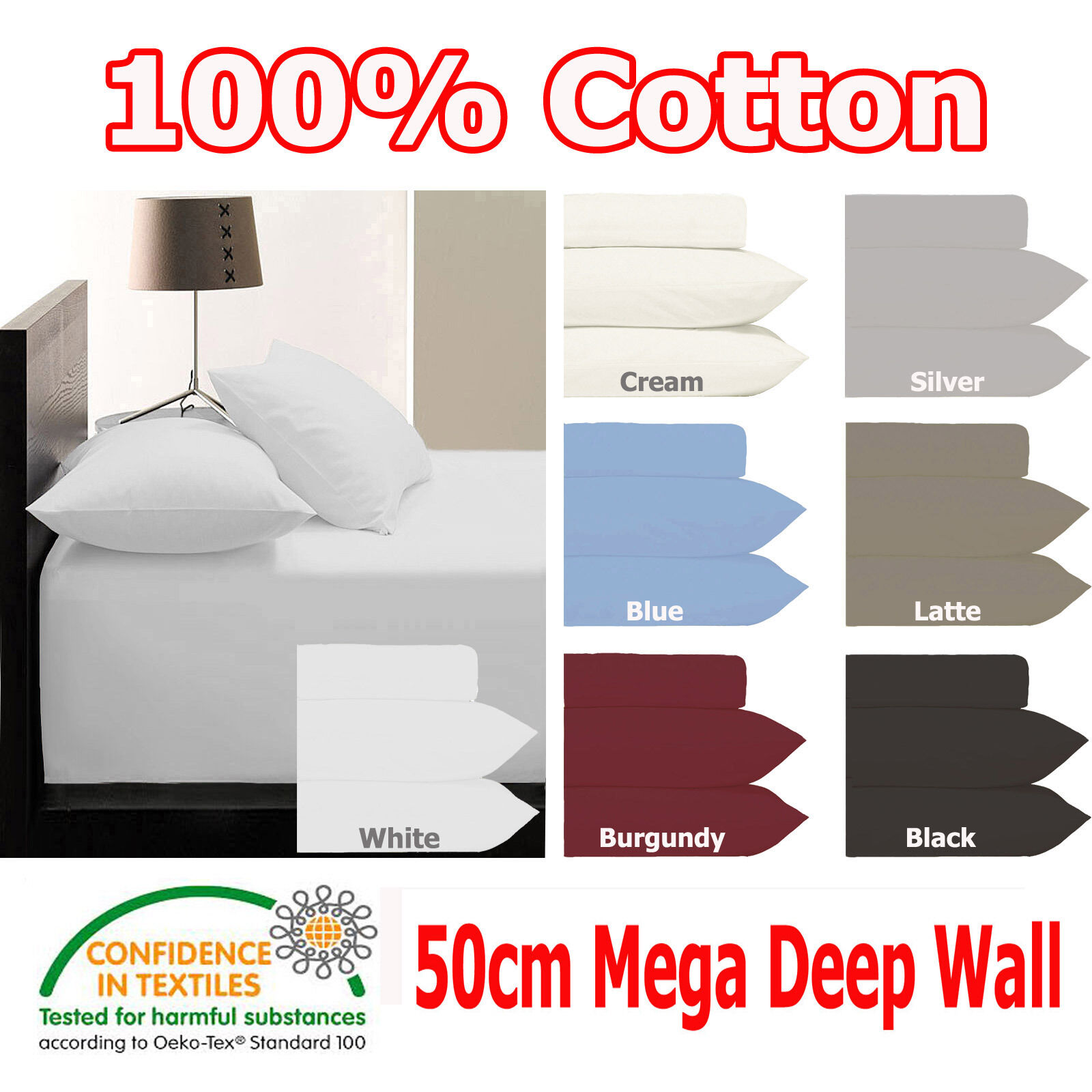 50cm Deep Wall - KING - 250TC Fitted Sheet & 2 Pillowcases Set 100% COTTON