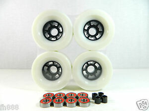 Blank-Pro-83mm-Longboard-White-Flywheels-ABEC-7-Bearings-Spacers