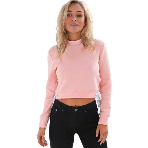 Womens Autumn Winter Sweatshirt Long Sleeve Short Blouse Shirt Pullover Tops New