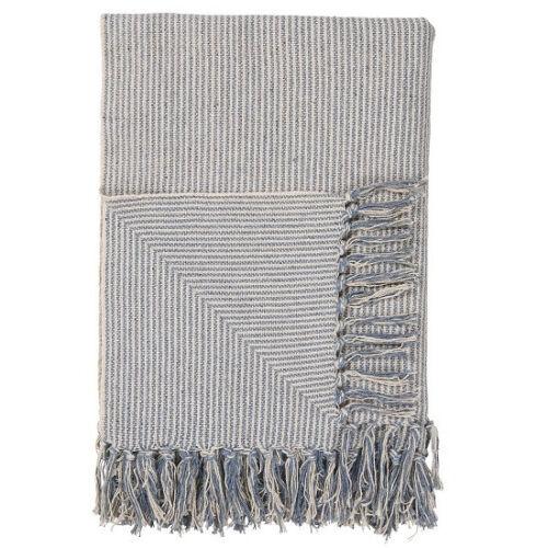 100/% coton Plaid crème et bleu clair petites rayures couverture par IB Laursen
