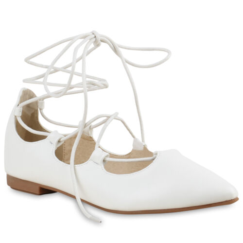Klassische Spitze Damen Ballerinas Geschnürte Flats Schleifen 816088 Schuhe