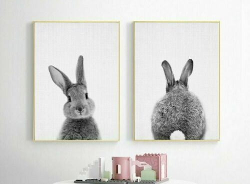 Nordic Black And White Cute Rabbit Animal Posters And Prints Wall Art Decoration