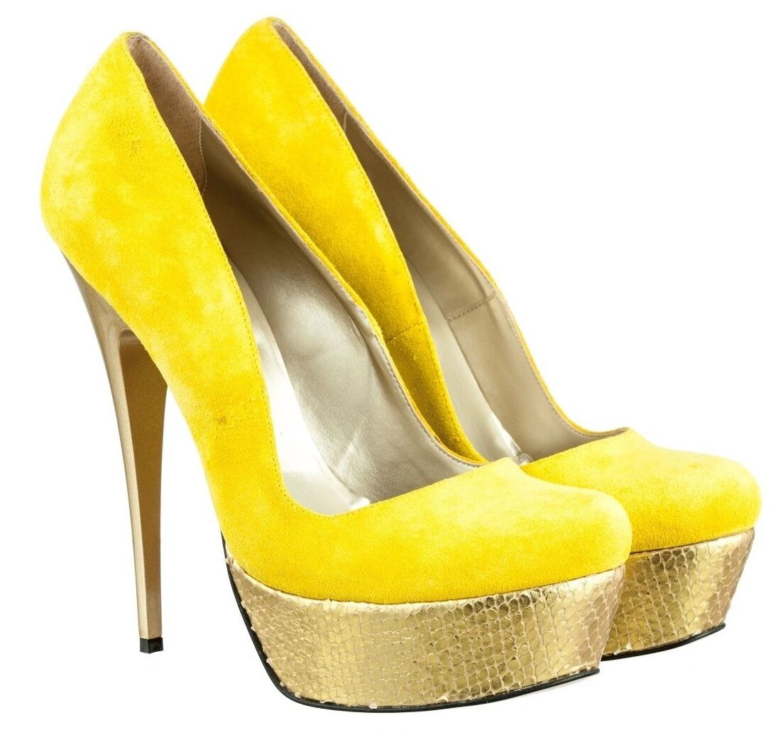 MORI ITALY PLATFORM HIGH HEEL PUMPS SCHUHE SHOES KROCO LEATHER YELLOW yellow 45