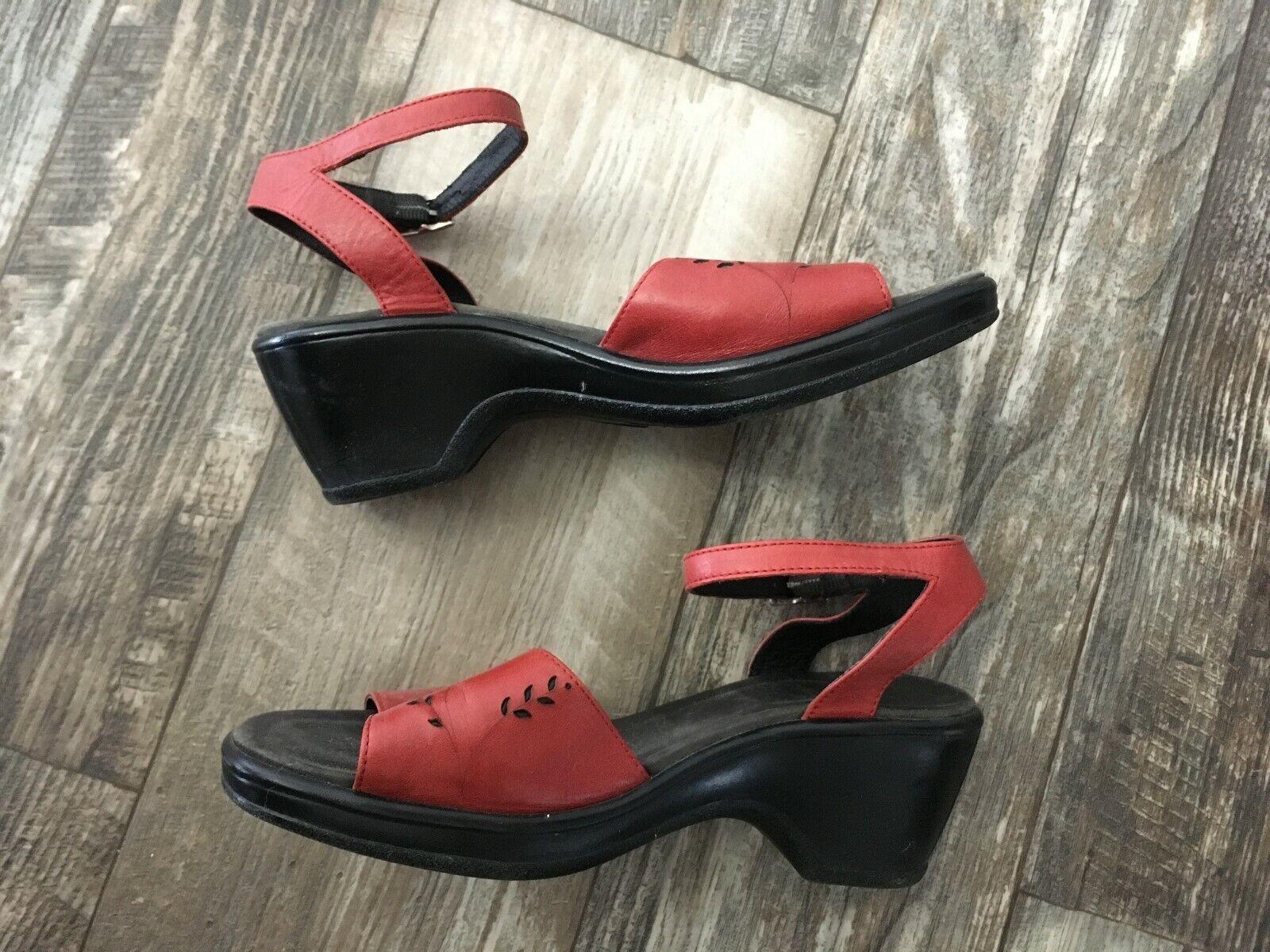 Dansko Red Leather Sandal - 38 - image 4