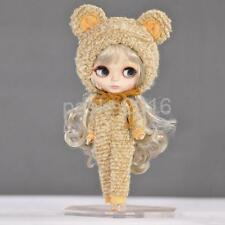 Cute Doll Bear Clothes & Hat for 12'' Blythe Doll Dress Up Light Khaki