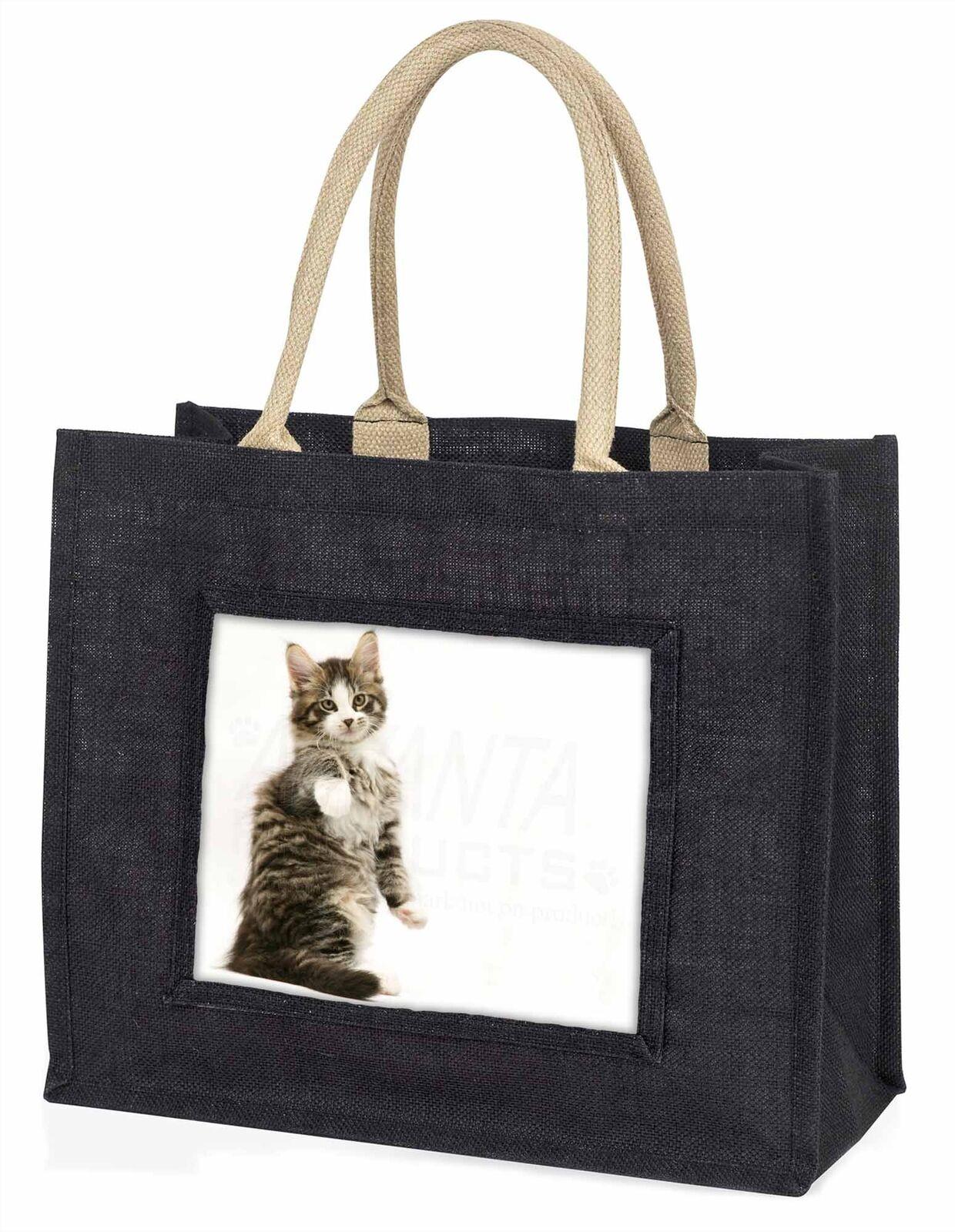 AC-201BLB Brown Tabby Cats Face Large Black Shopping Bag Christmas Present Idea