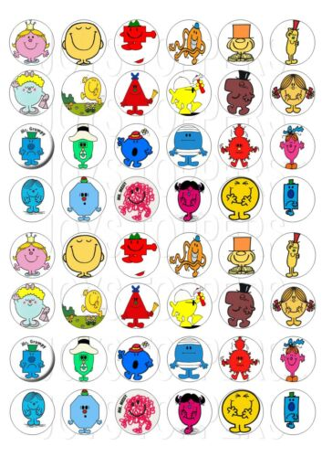 48 MINI MR MEN CUPCAKE TOPPERS ICED ICING FAIRY CAKE BUN TOPPERS