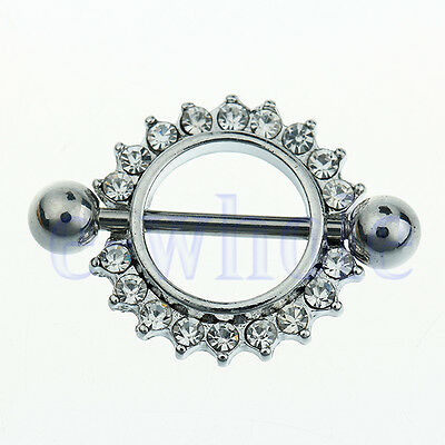 2x Clear CZ Gem Paved Circle Nipple Shield Cover Rings Body Piercing Bar 14G TW