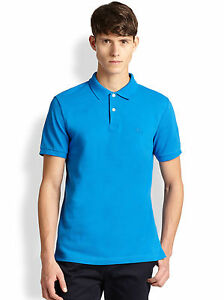 Burberry Brit Classic Mens Pique Polo BLUE SOLID Shirt Size XLARGE ... aa7873f1aad