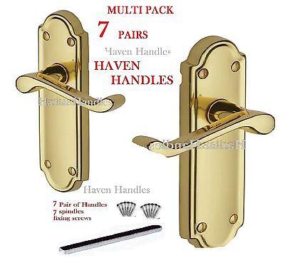7 Sets Of Polished Brass Door Handles | Lever Handle - 'ashworth' Design D3
