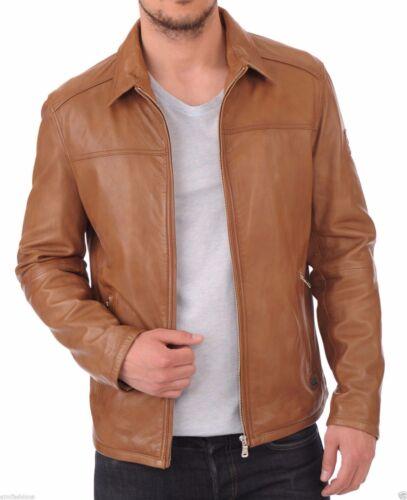 New Men/'s Genuine Lambskin Leather Jacket Brown Slim fit Motorcycle Biker Jacket