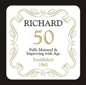 50-50th-Cumpleanos-Posavasos-Personalizados-nacio-en-1969-Cualquier-Nombre-Regalo