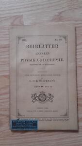 E. Wiedemanns Weichkäse - Beiblatter A Annalen Der Physik Und Chemie - 1891 - No