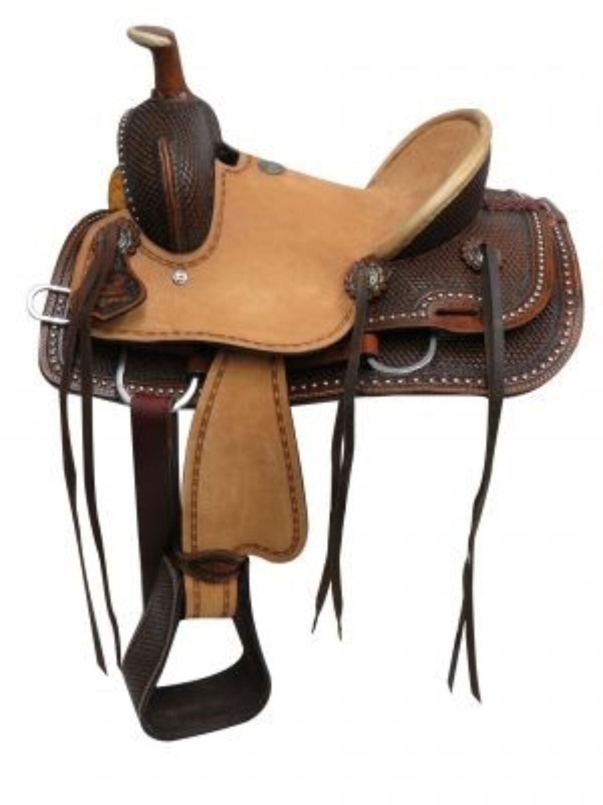 12  Double T Youth Hard Seat Roper Style Saddle With Basket Tooled Leather