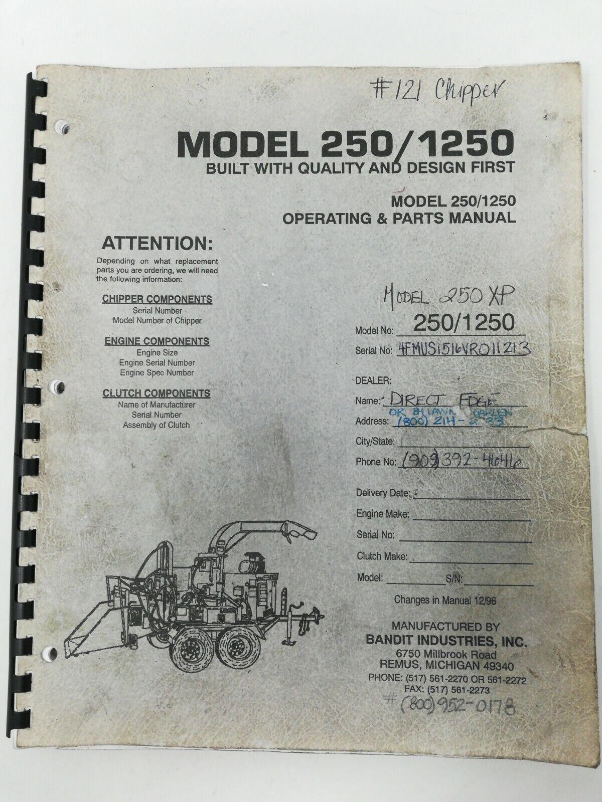 Bandit 250 Wood Chipper Parts Maintenance Service Manual for sale online |  eBay | Wood Chipper Engine Diagram |  | eBay