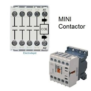 Details about 4 Pole Mini Contactor 20AMP Coil 12V DC, Motor 12A 600V DIN  20A Lighting, Heater