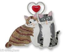 Zarah Zarlite Love KITTIES PIN Silver Plated Enamel Tabby Cat Kitten Brooch Box