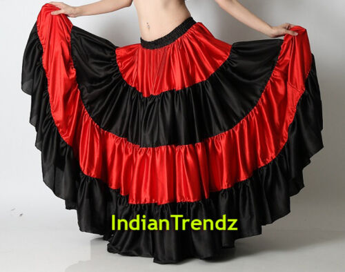 Mix Color Satin 6-12 25 Yard Tiered Gypsy Skirt Belly Dance Ruffle Flamenco