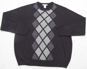 Black-Sweater-XXL-Long-Sleeve-Geoffrey-Beene-Mens-Crewneck-Acrylic-Gray-Man-2XL