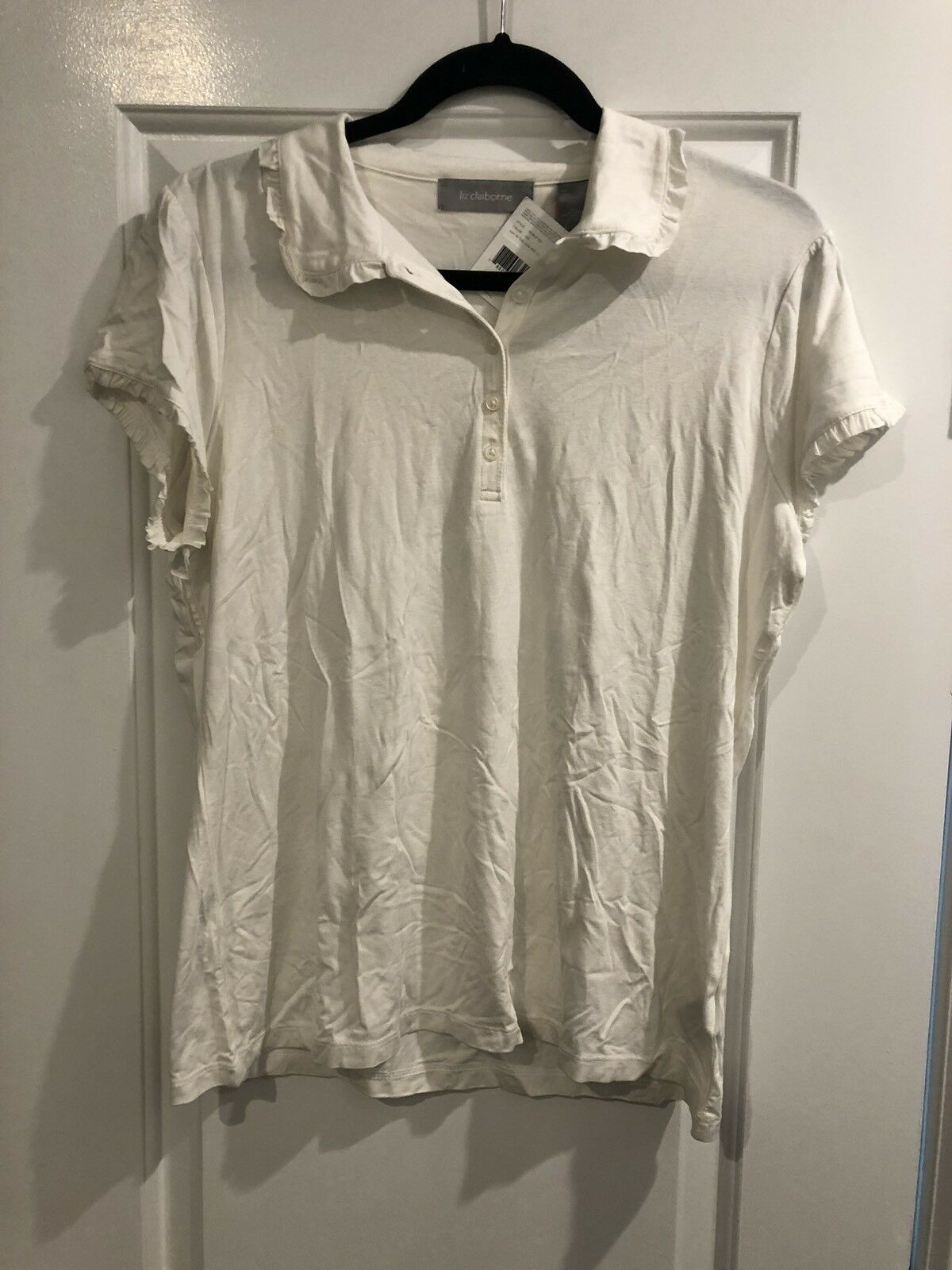 NWT Women's Liz Claiborne Stretch White Short Sleeve Collared Polo Shirt XL