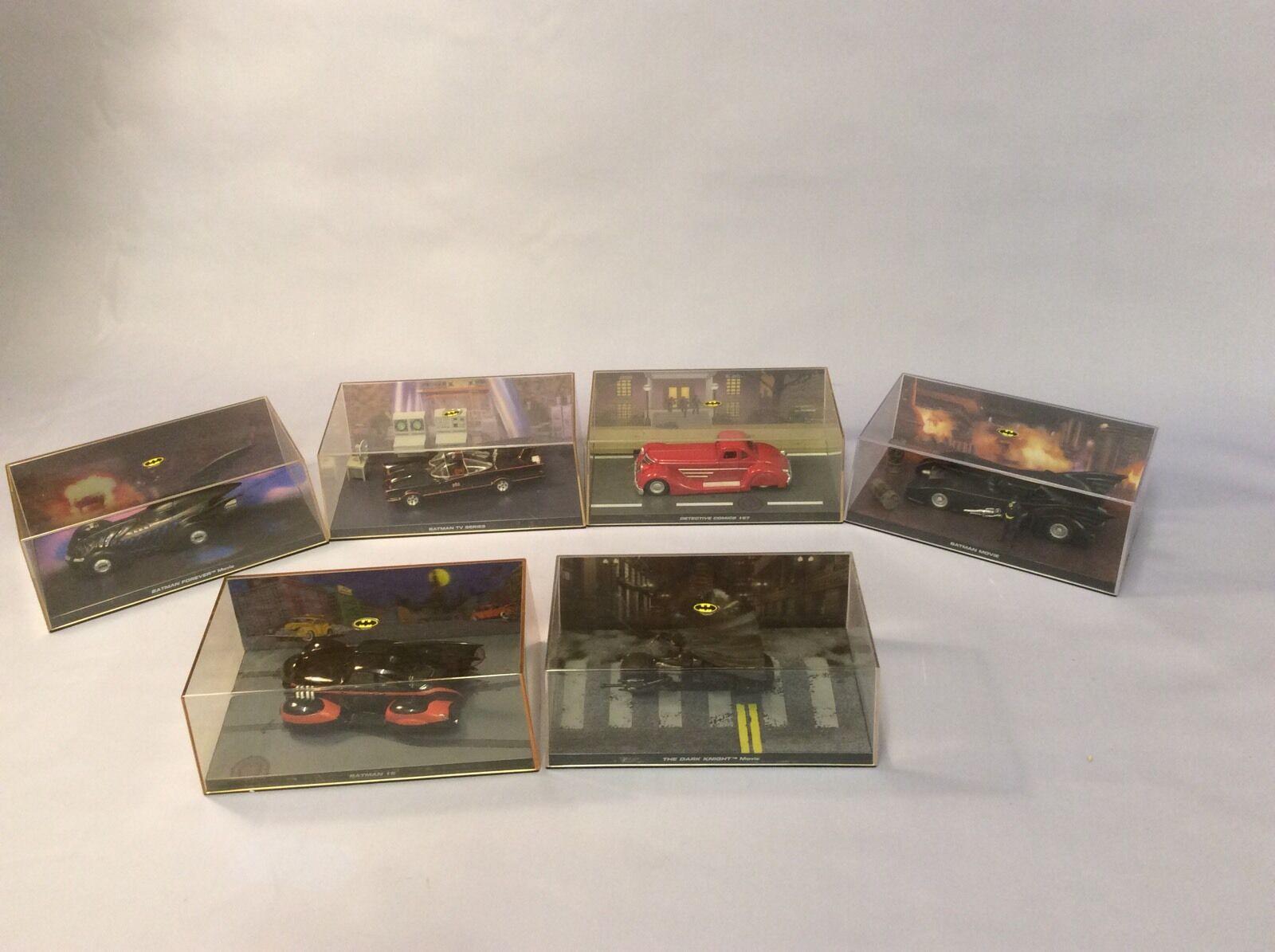 6 x Mixed Batman CAR IN PLASTIC DISPLAY CASE