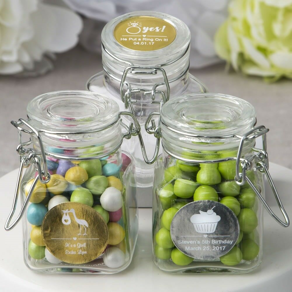 40 Personalized Metallic Apothecary Candy Jar Wedding Bridal Shower Party Favors