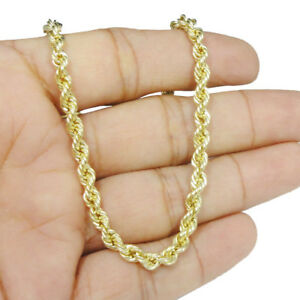 29f7a67564c4e Details about Men's Thick 4mm Genuine Real Solid 10kt Yellow Gold Hollow  Rope Necklace Chain