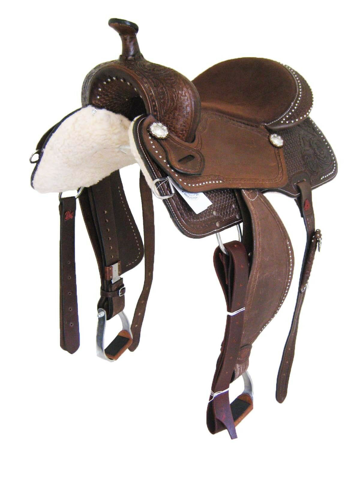 THSL  WESTERN BARREL SADDLE BROWN ROUGH OUT 17  (10112) NEW
