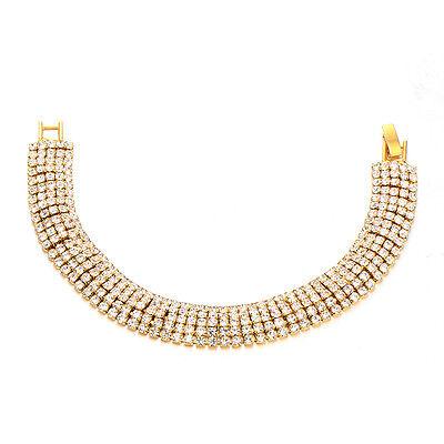 Womens 5-Row Crystal Charm Love Bracelet Vinatge Yellow Gold Fiiled Jewelry  7.5