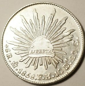 MEXIQUE-SUPERBE-8-REALES-ARGENT-1858-Mo-FH-MEXICO