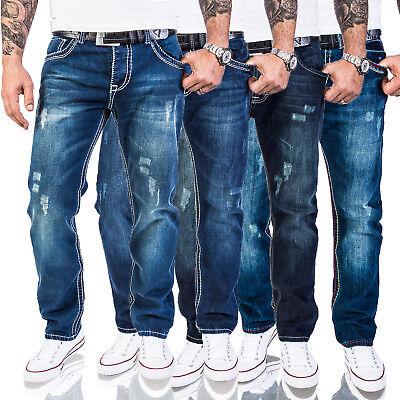 Details zu Rock Creek Herren Designer Denim Jeans Hose dicke Zier Nähte W29 W44 NEU Multi