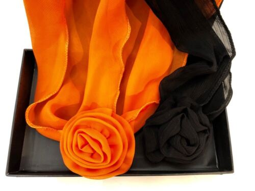 Orange Black /& Choice Flower Clip Scarf woman belt headband neck hair set of 3