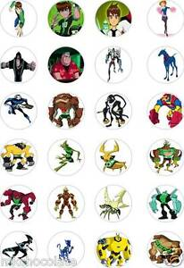 24x precut ben 10 omniverse aliens rice wafer paper cup cake toppers