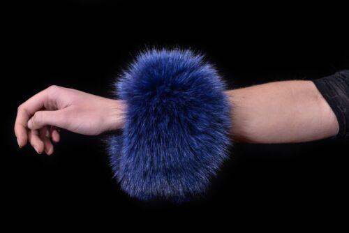 Cuffs Saga Furs Indigo Blue Fox Fur Ladie/'s Handmade Collar Scarf Boa Shawl