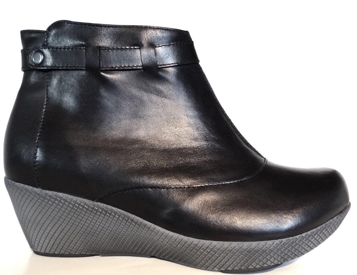 Zapatos de Cuero Negro Nicole OGS Ancho Botines Extra Ancho Ancho Ancho 3E  todos los bienes son especiales