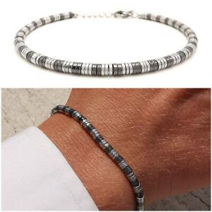 Bracciale-da-uomo-in-acciaio-inox-con-ematite-pepite-braccialetto-grigio-nero