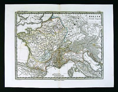 Map Of France N Italy.1866 Stulpnagel Map Ancient Roman Gallia Gaule France N Italy