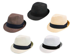 baa6027e7715 Details about New Mens Womens Summer Light Paper Straw Fedora Trilby Hat  Gangster #969SF