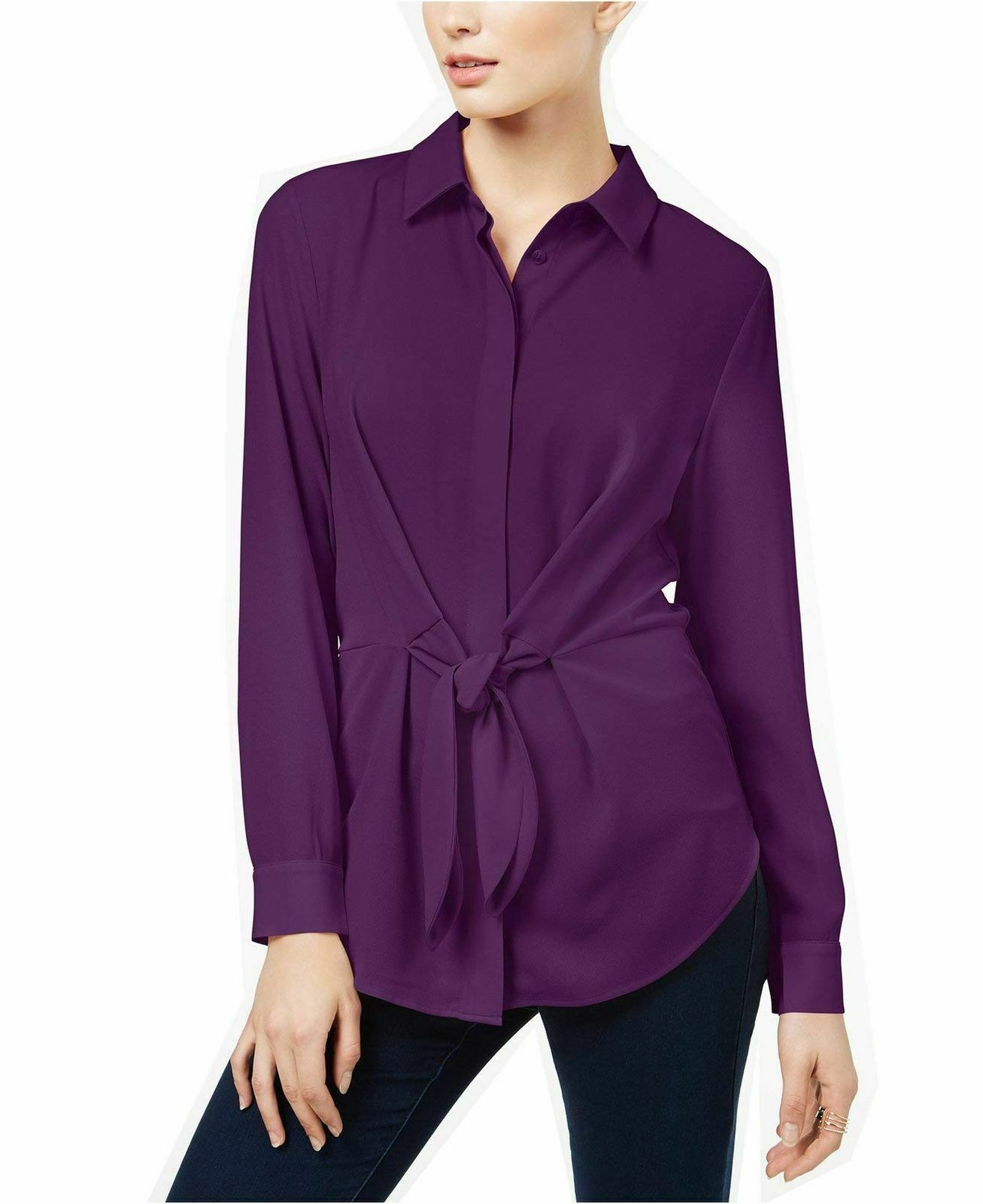 INC International Concepts Tie-Front Shirt lila Paradise S