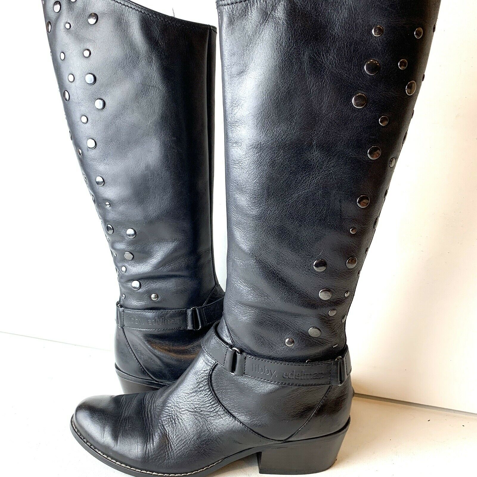 Libby Edelman Black Leather Paramour Boots Womens Size 7.5M Knee High Low Heel