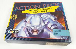 TURRICAN-I-II-X-OUT-Kick-Off-Commodore-64-Disk-Spiel-C64-C-64-BIG-BOX-CIB-VGC