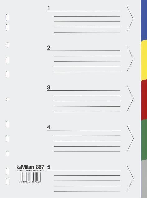 Milan Kunststoff  Register Nr 867 NEU ! 868-5 o.10-teilig Trennblätter