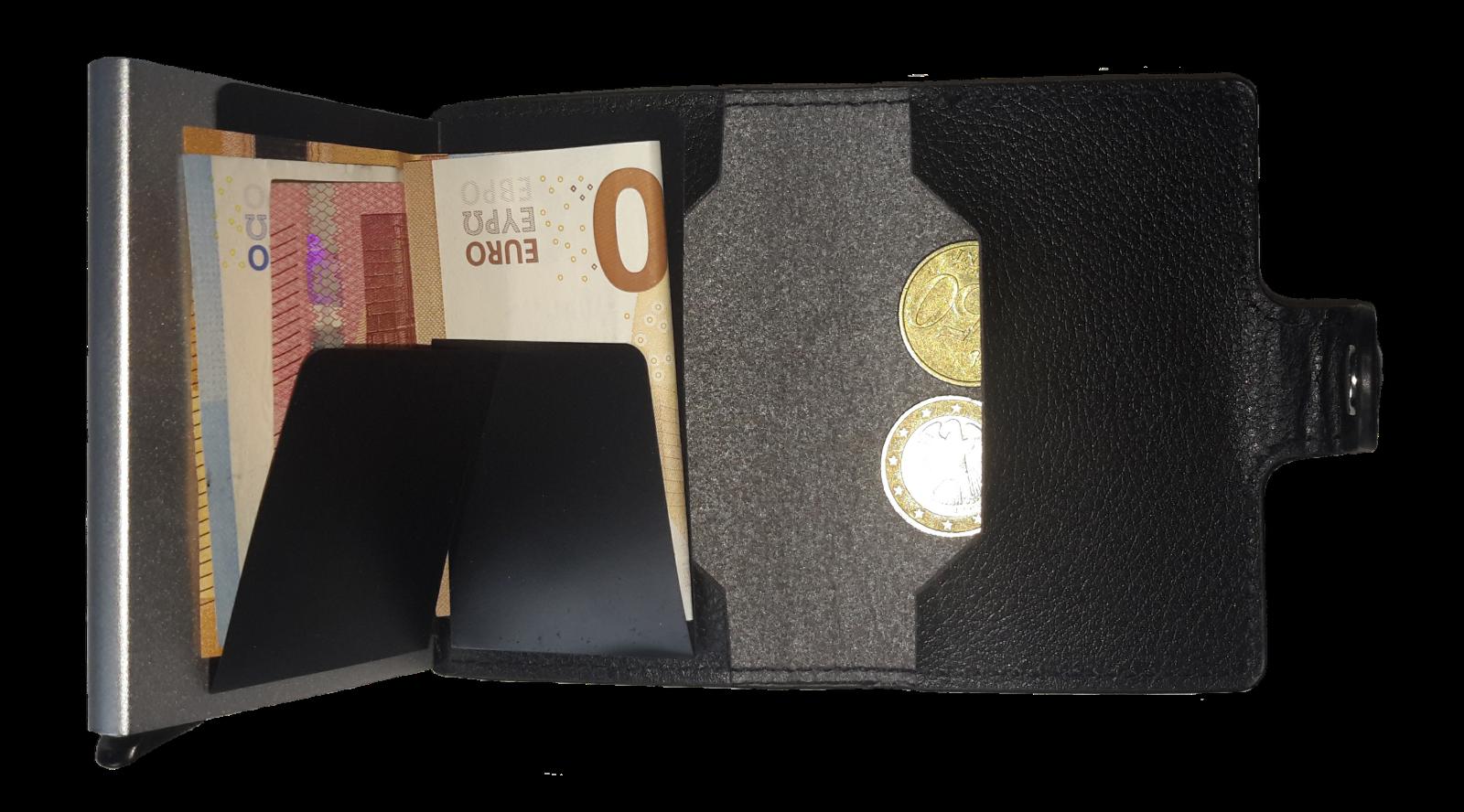 Kreditkartenetui mit praktischer Aufschiebefunktion und Münzgeldfach 3 Farben